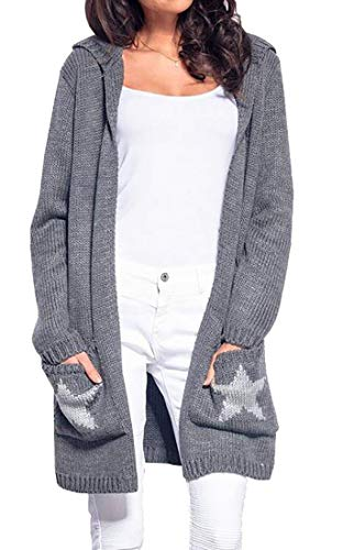SELX - Sudadera con Capucha para Mujer, Manga Larga, diseño de Estrella, Gris, US XS