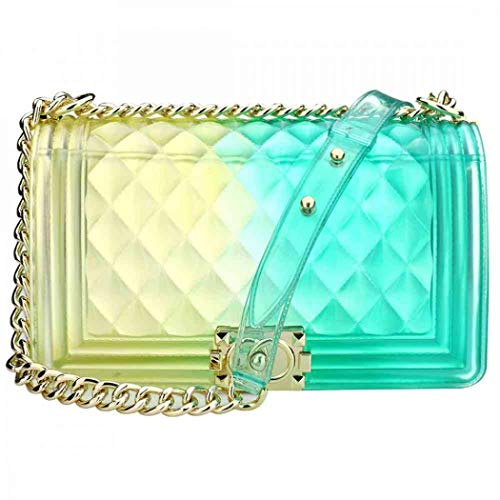 Peudo Women Transparent Jelly Messenger Bag Gradient Candy Color Clutch Purses Shoulder Handbags Crossbody Bag with Chain (Yellow-green,Small size 200x120x70mm)