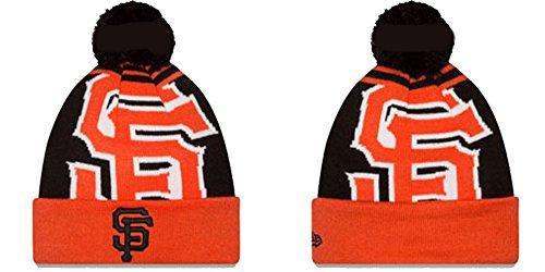 New Era San Francisco Giants Logo Whiz 2 Cuffed Pom Knit Beanie Hat/Cap (Sf Giants Beanie With Pom New Era)