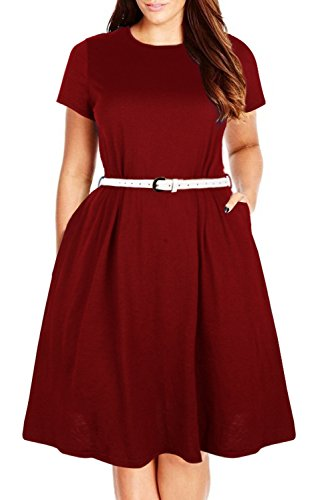 Pocket Wine Dress Plain Loose Women's Plus Simple Nemidor Casual Size qZfvpv