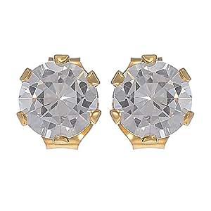 E'arrs Women's Gold Plated 5 mm Cubic Zirconia Stud Earrings