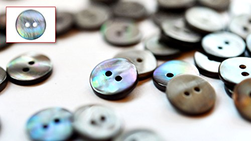 Set of High Grade Grey Mother of Pearl Blouse, Shirt Buttons (Pack of 20 Pieces) ø12mm 2 - Grey Pearl Button