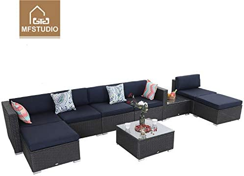 MFSTUDIO 9 Piece Patio Furniture Sofa Sectional Outdoor Couch Set with Upgrade Rattan Wicker,Navy Blue A