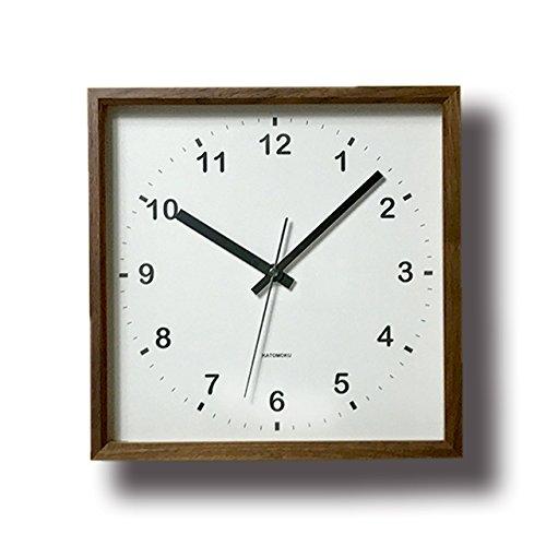KATOMOKU muku square clock km-37B 木 ウォールナット 連続秒針 B00YTFGSSK
