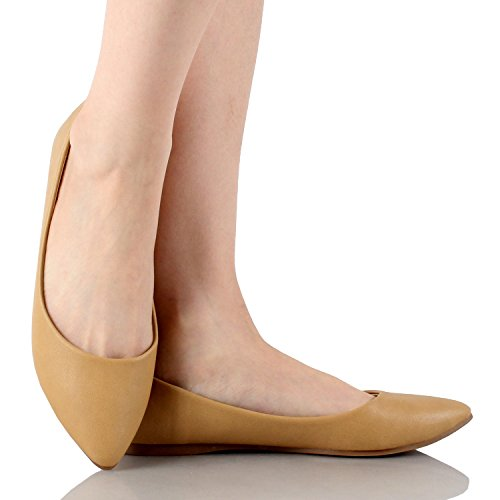 Bella Marie Womens Klassische Spitzen Zehen Ballett Slip On Flats-Shoes Beige