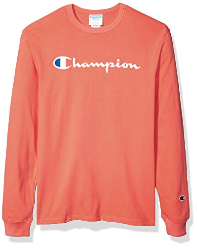 - Champion LIFE Men's Heritage Long Sleeve Tee, Champion Script Embroidery/Groovy Papaya, Large
