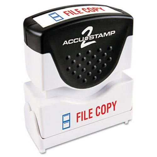 (- Accustamp2 Shutter Stamp with Microban, Red/Blue, FILE COPY, 1 5/8 x 1/2)