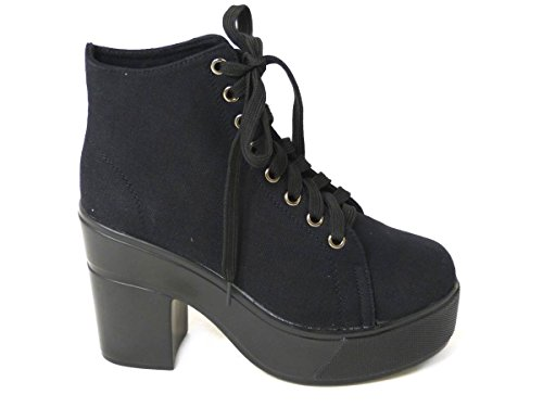 Ladies Womens Chunky Cleated Sole Block Heel Platform Chelsea Ankle Boots Size Black Fabric (50161)