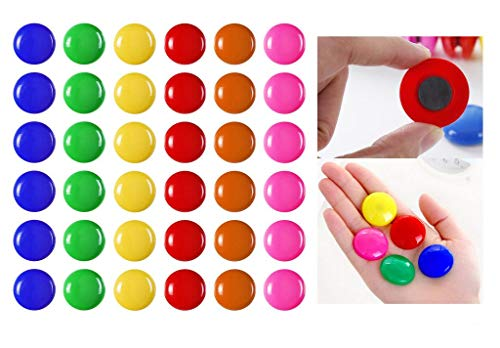 Louise Maelys 60 Pcs Assorted Color Round Presentation Whiteboard Magnetic Fridge Magnets for Home Office School