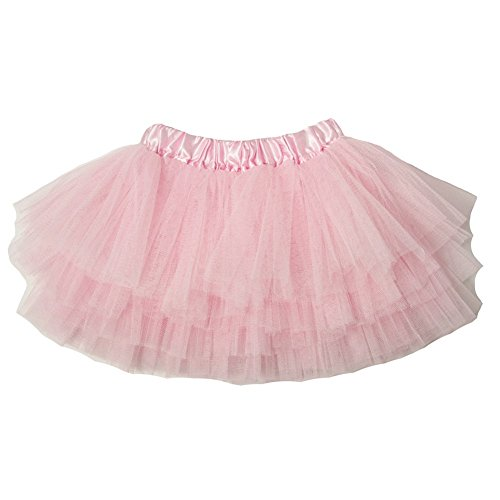 Little Girls Light Pink Satin Elastic Waist Triple Layer Ballet Tutu Skirt 2-8Y