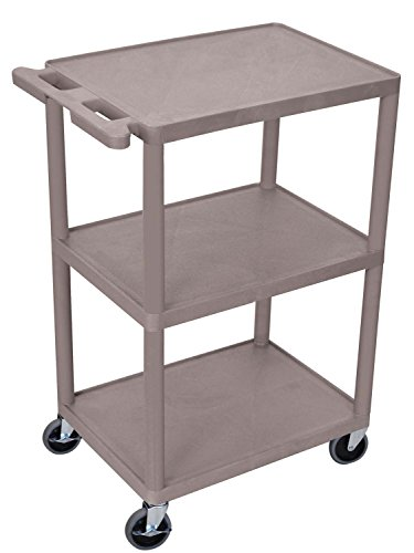 Luxor HE42-G Three Shelves Utility Cart with Locking Brakes, Shape, Gray () by Luxor