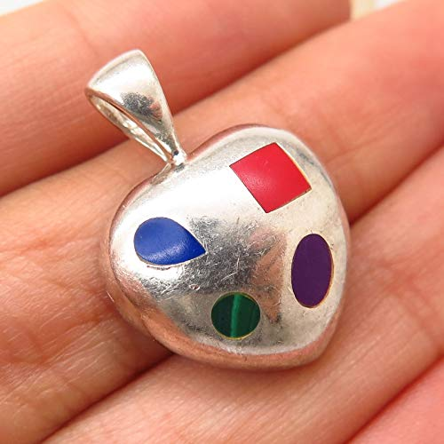 VTG 925 Sterling Silver Multi-Color Gem Abstract Inlay Heart Design Pendant Jewelry Making Supply by Wholesale Charms