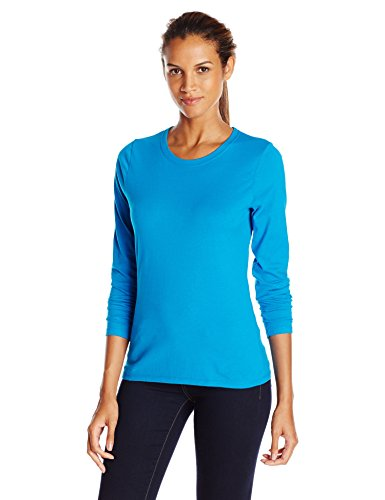 Blue Long Sleeve Tee - Hanes Women's Long Sleeve Tee, Deep Dive, Medium