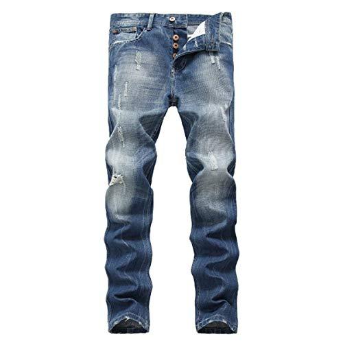 Battercake Eleganti Comodo Media Sottili Jeans Diritto Uomo Strappati Blu Taglio Da A Vita rrBSPw