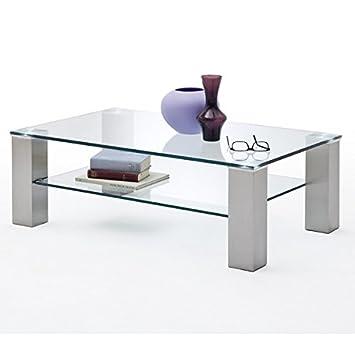 Couchtisch ASTA II Glastisch Wohnzimmertisch Metall Glasplatte ...
