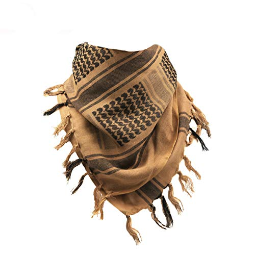 (Unisex Cotton Keffiyeh Tactical Desert Scarf Military Scarf Wrap Shemagh Brown)