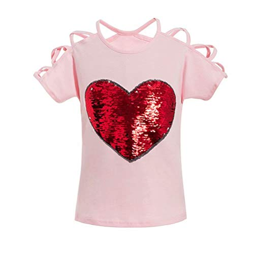 Magic Flip Sequin Girl's Cotton T-Shirt Top Fashion Cute Clothes 110 (3-4YRS)