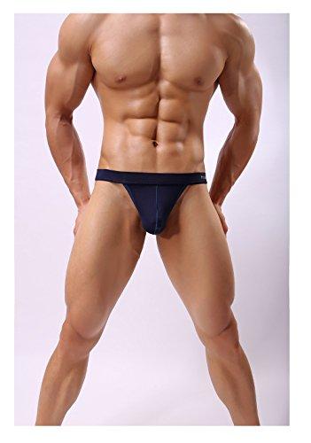 Qirui Coton Doux Sous-vêtements Purs Hommes De Couleur T-retour De Jockstrap Bleu Foncé