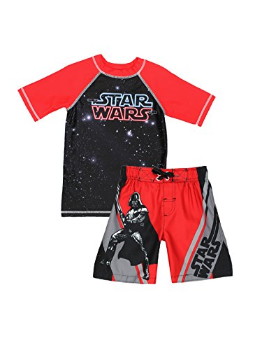Star Wars Boys Swim Trunks and Rash Guard Swimsuit Set (4, Red/Black) -