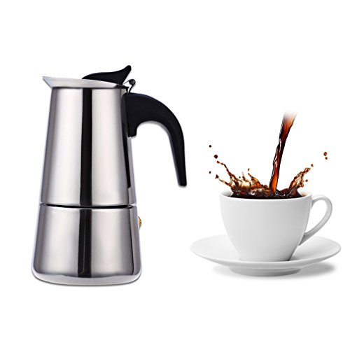 C&W 6-Cup Espresso Maker – Finely Crafted Stainless Steel – Stay-Cool Silicone Handle and a Flip Top Lid – For Use on Gas or Electric Stovetops