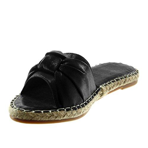 Noir Des 2 Slip on Cordon Chaussures Femmes Carré Mode Cm Brillant Angkorly Noeud Noeud Mules Talon Sandales apAAHTwWq5