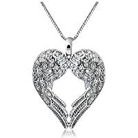 ERAWAN Womens Fashion Angel Wing LOVE Crystal Rhinestone Silver Pendant Necklace Gift EW sakcharn