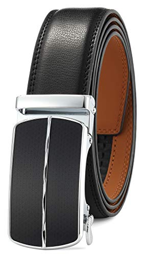 Men's Belt Ratchet Dress Belt with Automatic Buckle Brown/Black-Trim to Fit-35mm wide(Up to 45
