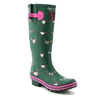 Evercreatures Women's Rain Boots UK Brand Original Tall Rain Boot Gumboots Wellies Green Size: 5