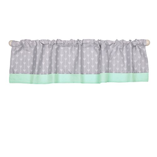 (Grey and Mint Green Arrow Print Cotton Window Valance by The Peanut Shell)