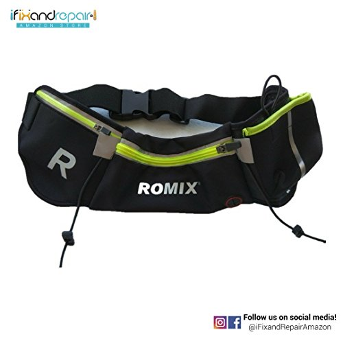 iFixandRepair Fanny Pack by ROMIX RH42 + Waist Bag + Outdoor + Sports + Waterproof Case + Accessory Storage + Carry Case + Protective Case (Black and Green)