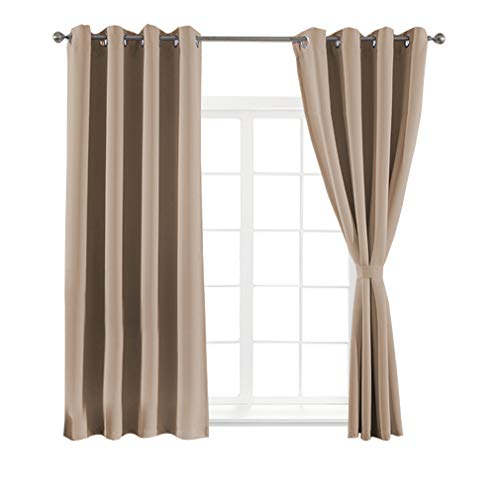 Cheap Yakamok Window Treatment Blackout Thermal Insulated Solid Grommet Curtains Drapery 2 Tie Backs (Set of 2 Panels,W52 x L63, Cappuccino)