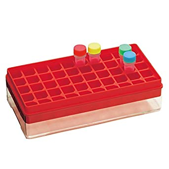 1577-550R Freezer Storage Rack, for 50 Microtubes, Red, 10racks/unit, Made-in-Kobe/Japan