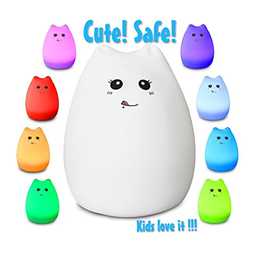Celebrity Kitty LED Baby Night Light, Eco-Frendly Silicon Material, Sensitive Tap Control, 7 Single Colors Mode + Breathing Light ()