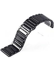 RECHERE 24mm Ceramic Bracelet Watch Band Strap Deployment Clasp Color Black
