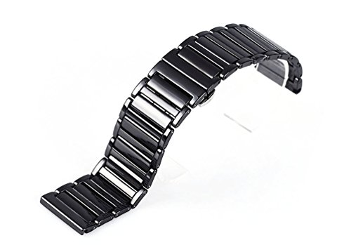 RECHERE 24mm Ceramic Bracelet Watch Band Strap Deployment Clasp Color ()