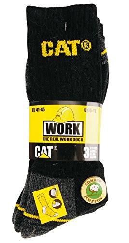 Caterpillar Crew Work Sock - Black - Size 6 x 11 - Pack of 3 Pairs