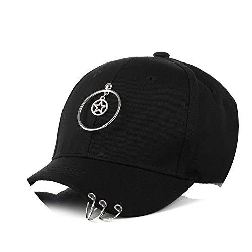 帽子 夏の女性野生の野球帽人格のヒップスターリングキャップのバイザー,ブラック,大人
