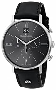 Maurice Lacroix Men's EL1088-SS001-810 Eliros Stainless Steel Watch With Black Leather Band