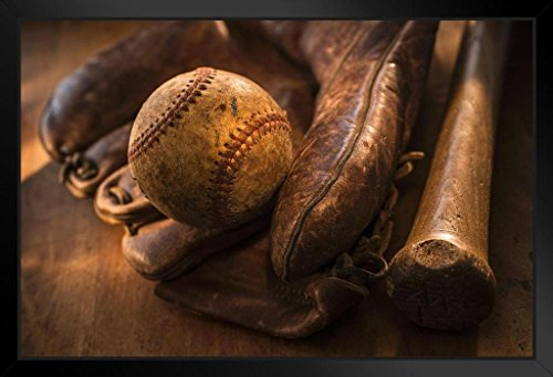 Antique Baseball Glove and Bat Photo Art Print Framed Poster by ProFrames 20x14 inch Braves Baseball Photos