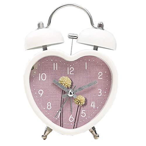 Alarm Clock Flower Figure Heart-Shaped Mute Cute Sleepy Lazy Night Light Double Bell Modern Fashion Simple Bed Beautiful Home Creative Personality Multi-Color Optional 9.5cm12.5CM MUMUJIN