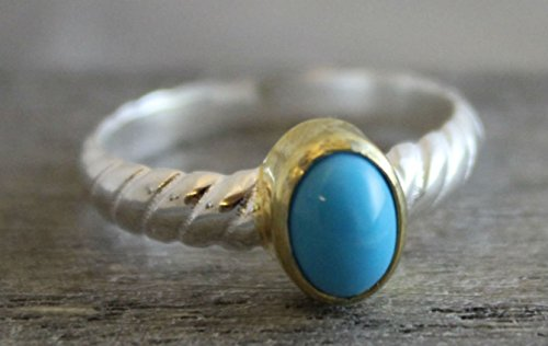 Turquoise Gemstone Mixed Metal Gold Plated Sterling Silver Ring, size 7