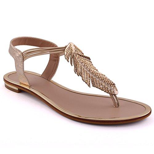 Unze Las nuevas mujeres 'Sacha' frondoso playa de verano de la fiesta se reúnen Carnaval Casual Sandalias plano tamaño de los zapatos Gold