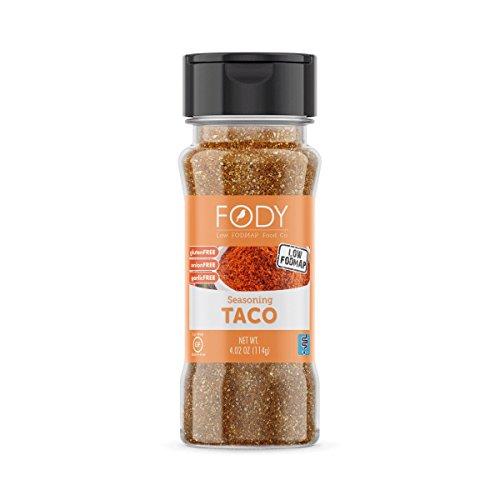 FODY--Low FODMAP Taco Seasoning--Gluten Free IBS Friendly Low FODMAP Certified, Onion and Garlic Free--1-4.02 Ounce Bottle