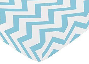 Fitted Crib Sheet for Turquoise and White Chevron Collection Baby/Toddler Bedding by Sweet Jojo Designs - Zig Zag Print
