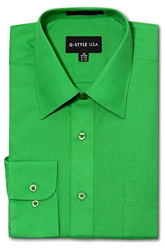 - G-Style USA Men's Regular Fit Long Sleeve Solid Color Dress Shirts - Green - Large - 34-35