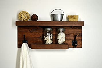 Moderno Rústico baño - estantería de pared con 2 rústico toalla ganchos: Amazon.es: Bricolaje y herramientas