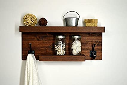 Modern Rustic Bathroom Wall Mount Shelf with 2 Rustic Towel Hooks ...