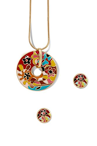 enamel-pendant-necklace-pierced-earrings-set-snake-chain-circle-floral-charm-stud-red-orange-floral