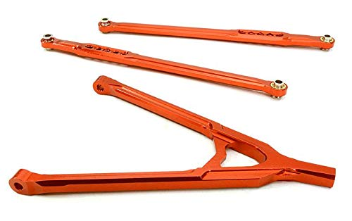 (Integy RC Model Hop-ups OBM-BR233008RED CNC Machined Aluminum Front Lower Chassis Linkages+Upper Y-Arm for Axial SCX-10)