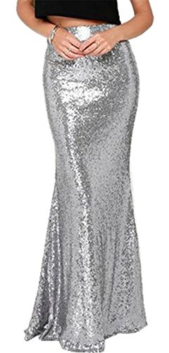 Taille Haute Brillant Mtallis Paillette Paillettes Paillete Zipp Dos Long Longue Maxi Bodycon Fourreau Moulante Ajuste Fishtail Sirne Mermaid Jupe Argent